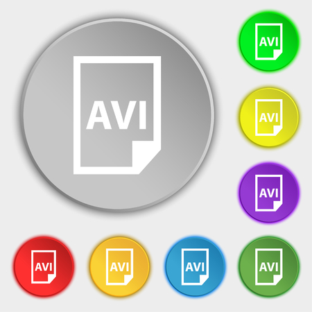 avi: AVI Icon sign. Symbol on eight flat buttons. Vector illustration