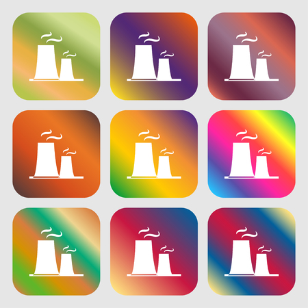 atomic power station icon . Nine buttons with bright gradients for beautiful design. Vector illustration