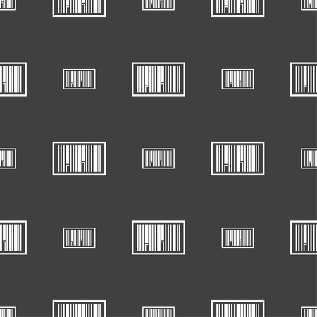 medical distribution: Barcode Icon sign. Seamless pattern on a gray background. Vector illustration Illustration