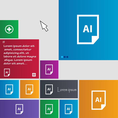 htm: file AI icon sign. buttons. Modern interface website buttons with cursor pointer. Vector illustration