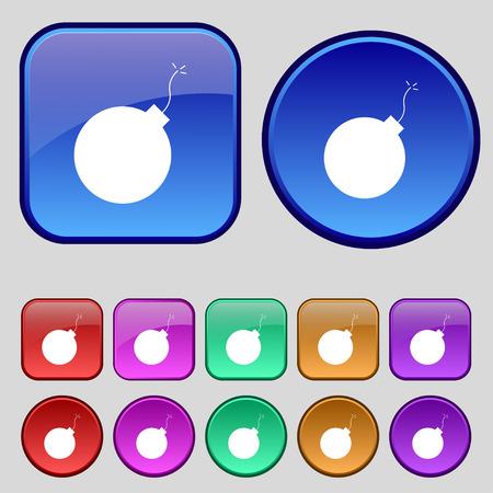 detonate: bomb icon sign. A set of twelve vintage buttons for your design. Vector illustration