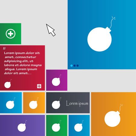 simplified: bomb icon sign. buttons. Modern interface website buttons with cursor pointer. Vector illustration