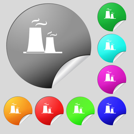atomic power station icon sign. Set of eight multi colored round buttons, stickers. Vector illustration