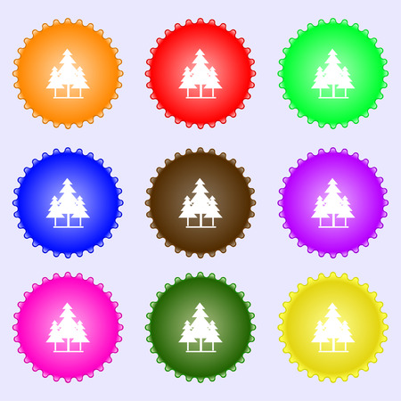 christmas tree icon sign. Big set of colorful, diverse, high-quality buttons. Vector illustration
