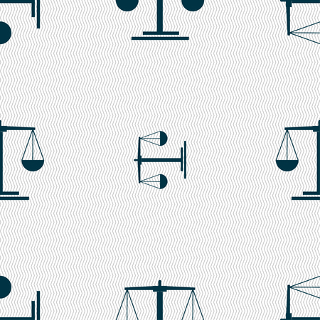 acquit: scales Icon sign. Seamless pattern with geometric texture. Vector illustration Illustration