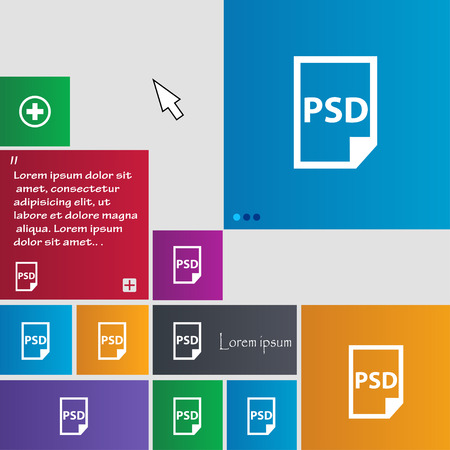 psd: PSD Icon sign. buttons. Modern interface website buttons with cursor pointer. Vector illustration