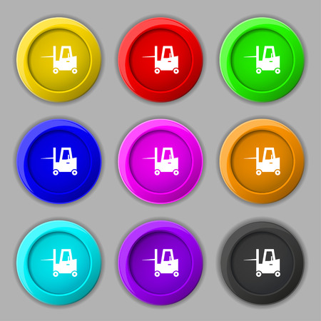 shipper: Forklift icon sign. symbol on nine round colourful buttons. Vector illustration