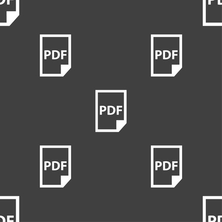 bibliography: PDF Icon. sign. Seamless pattern on a gray background. Vector illustration