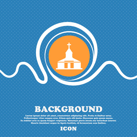 Church Icon sign. Blue and white abstract background flecked with space for text and your design. Vector illustration