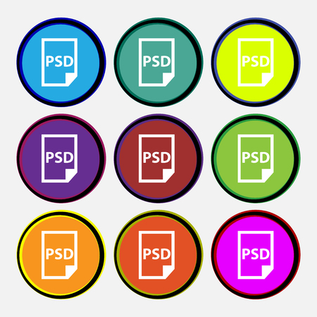 file types: PSD Icon sign. Nine multi colored round buttons. Vector illustration