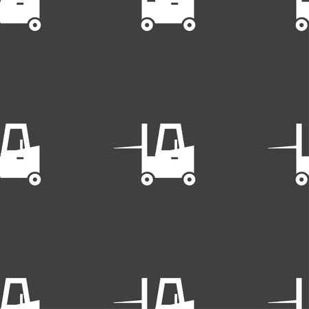 Forklift icon sign. Seamless pattern on a gray background. Vector illustration Illustration