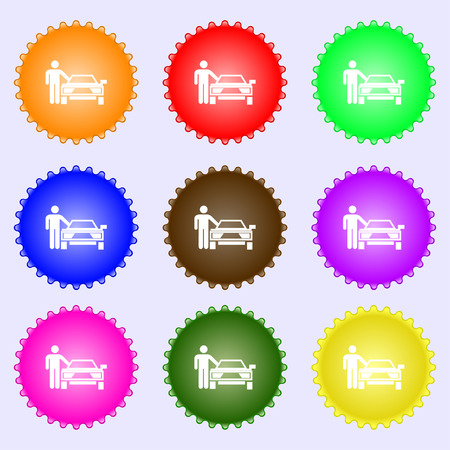 person up hailing a taxi icon sign. Big set of colorful, diverse, high-quality buttons. Vector illustration