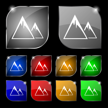 snow capped: Mountain Icon sign. Set of ten colorful buttons with glare. Vector illustration