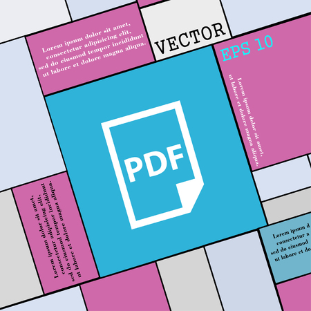 bibliography: PDF Icon. sign. Modern flat style for your design. Vector illustration