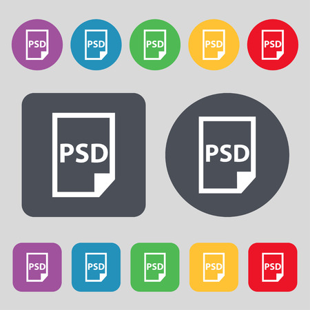 psd: PSD Icon sign. A set of 12 colored buttons. Flat design. Vector illustration