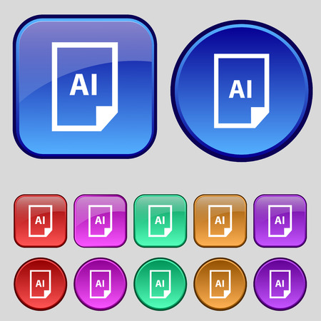 file AI icon sign. A set of twelve vintage buttons for your design. Vector illustration