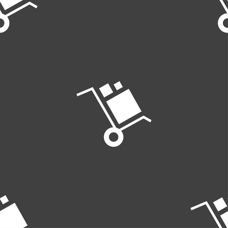 work crate: loader Icon sign. Seamless pattern on a gray background. Vector illustration