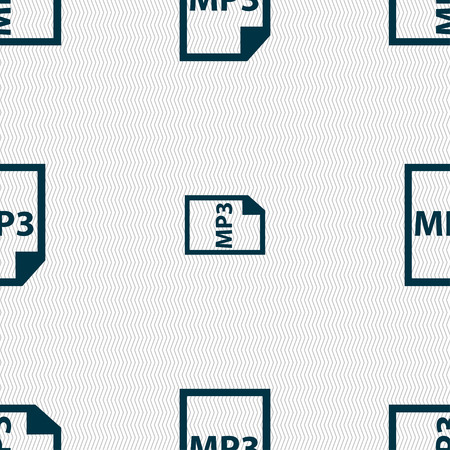 file types: mp3 icon sign. Seamless pattern with geometric texture. Vector illustration