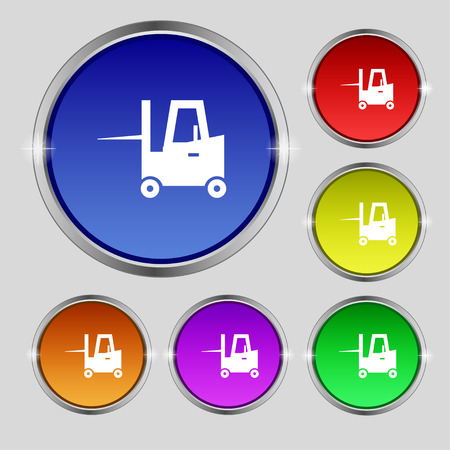 front loader: Forklift icon sign. Round symbol on bright colourful buttons. Vector illustration