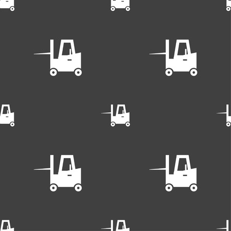 transportation facilities: Forklift icon sign. Seamless pattern on a gray background. Vector illustration Illustration