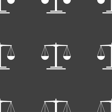 acquittal: scales Icon sign. Seamless pattern on a gray background. Vector illustration Illustration