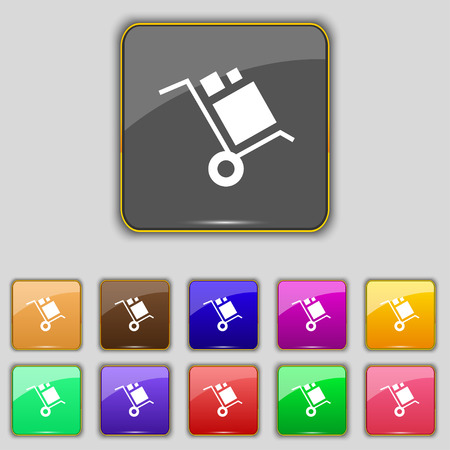 loader Icon sign. Set with eleven colored buttons for your site. Vector illustration