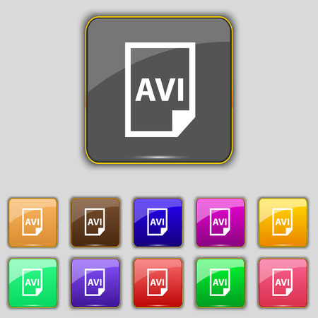 avi: AVI Icon sign. Set with eleven colored buttons for your site. Vector illustration