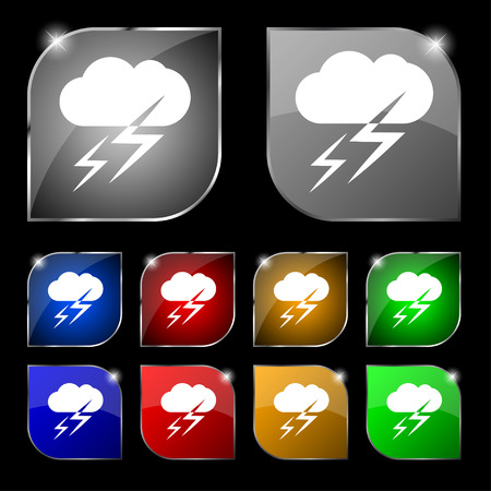 lightening: Weather icon sign. Set of ten colorful buttons with glare. Vector illustration Illustration