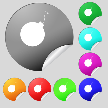 detonate: bomb icon sign. Set of eight multi colored round buttons, stickers. Vector illustration