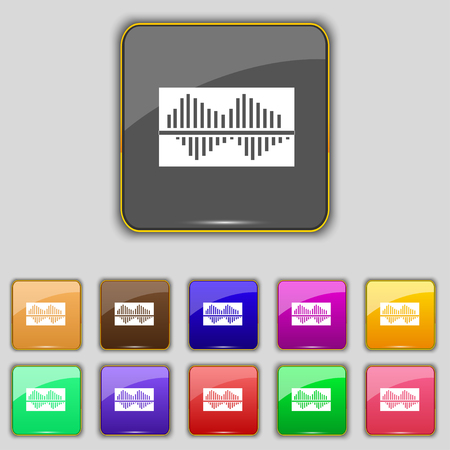 wave equality: Equalizer icon sign. Set with eleven colored buttons for your site. Vector illustration
