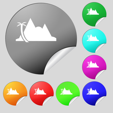 a mirage: Mirage icon sign. Set of eight multi colored round buttons, stickers. Vector illustration