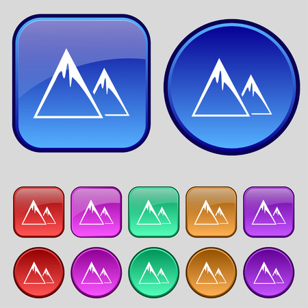 ridge: Mountain Icon sign. A set of twelve vintage buttons for your design. Vector illustration