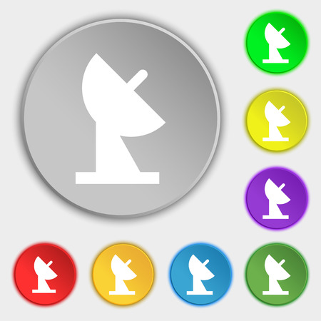satellite dish icon sign. Symbol on eight flat buttons. Vector illustration