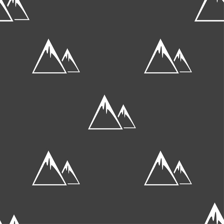 snow capped: Mountain Icon sign. Seamless pattern on a gray background. Vector illustration Illustration