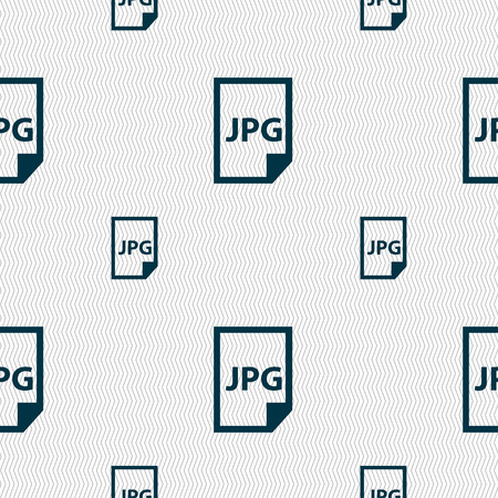 file types: Jpg file icon sign. Seamless pattern with geometric texture. Vector illustration Illustration