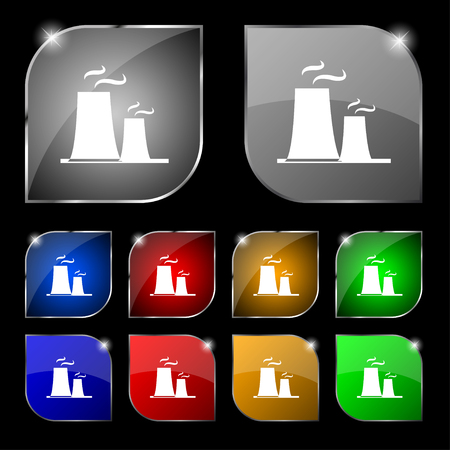 atomic power station icon sign. Set of ten colorful buttons with glare. Vector illustration