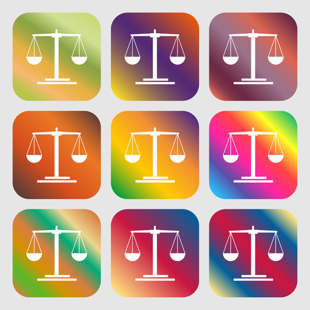 acquittal: scales Icon . Nine buttons with bright gradients for beautiful design. Vector illustration Illustration