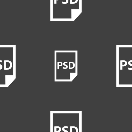 psd: PSD Icon sign. Seamless pattern on a gray background. Vector illustration Illustration