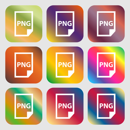 png: PNG Icon . Nine buttons with bright gradients for beautiful design. Vector illustration