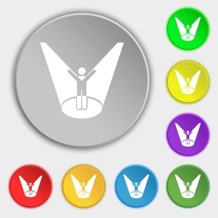 Spotlight icon sign. Symbol on eight flat buttons. Vector illustration Illustration