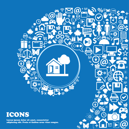 nice house: house icon . Nice set of beautiful icons twisted spiral into the center of one large icon. Vector illustration
