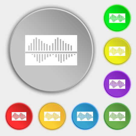wave equality: Equalizer icon sign. Symbol on eight flat buttons. Vector illustration