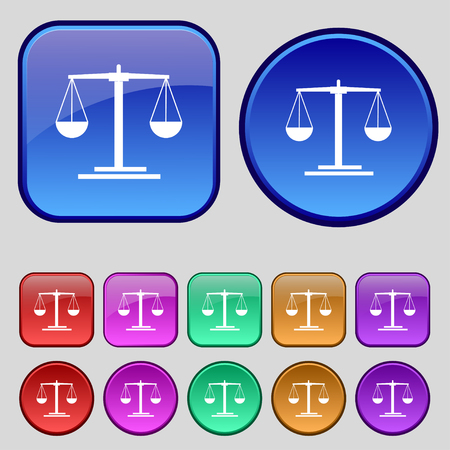 magistrate: scales Icon sign. A set of twelve vintage buttons for your design. Vector illustration Illustration