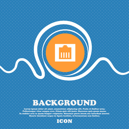 cat5: Internet cable, RJ-45 icon sign. Blue and white abstract background flecked with space for text and your design. Vector illustration