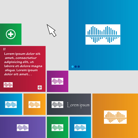 wave equality: Equalizer icon sign. buttons. Modern interface website buttons with cursor pointer. Vector illustration