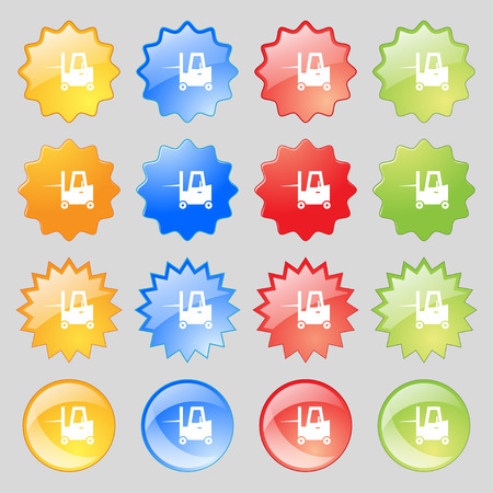 Forklift icon sign. Big set of 16 colorful modern buttons for your design. Vector illustration