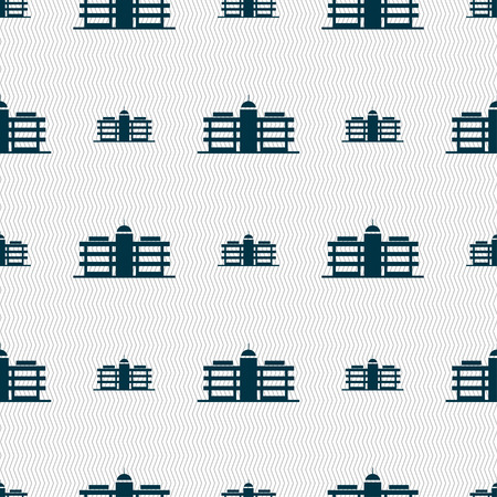headquarters: Business center icon sign. Seamless pattern with geometric texture. Vector illustration