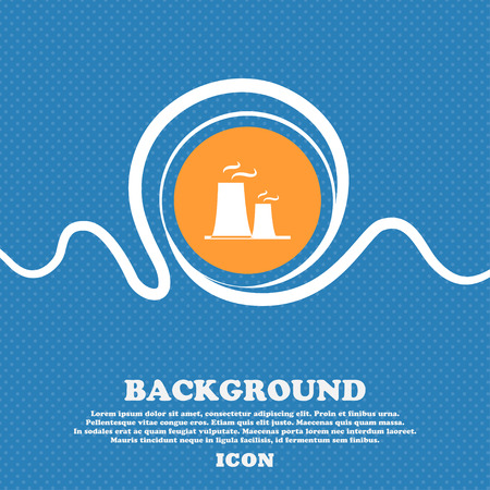 atomic power station icon sign. Blue and white abstract background flecked with space for text and your design. Vector illustration