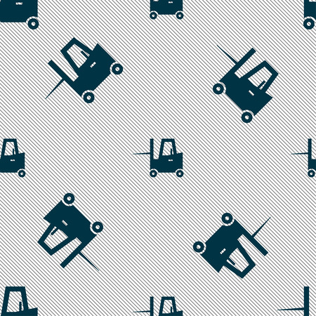 shipper: Forklift icon sign. Seamless pattern with geometric texture. Vector illustration Illustration