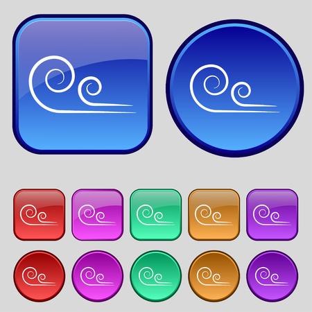 fresh concept: wind icon sign. A set of twelve vintage buttons for your design. Vector illustration